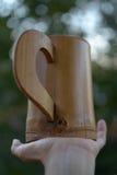 Taza de madera en la palma Foto de archivo