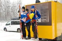 Taza de mundo 2010 en el esquí Orienteering. Podium del 1r Imagen de archivo libre de regalías