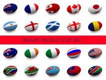 Taza de mundo del rugbi - naciones participantes stock de ilustración