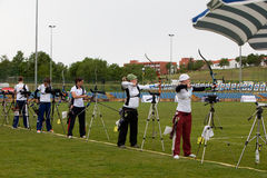 Taza de mundo del tiro al arco, 4 de mayo de 2010 en Porec, Croatia Foto de archivo libre de regalías