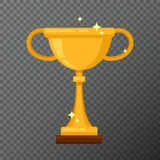 Taza de oro del campeón en fondo Vector el icono del cubilete hecho en diseño plano simple Imagen de archivo