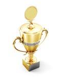 Taza de oro del trofeo aislada en el fondo blanco 3d rinden los cilindros de image Fotografía de archivo