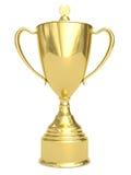 Taza de oro del trofeo en blanco Fotos de archivo libres de regalías
