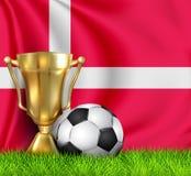 Taza de oro del trofeo del ganador y bal?n de f?tbol realistas aislado en la bandera nacional de DINAMARCA El equipo nacional es  fotografía de archivo