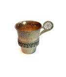 Taza de plata de la vendimia aislada Foto de archivo