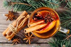 Taza de sidra de manzana caliente con canela, anís y la naranja imágenes de archivo libres de regalías
