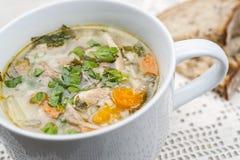 Taza de sopa de la subida del pollo Imagen de archivo