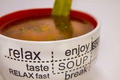 Taza de sopa del tomate en un fondo ligero fotografía de archivo libre de regalías
