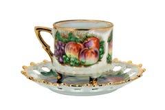 Taza de té aislada con vida inmóvil fotos de archivo