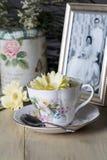 Taza de té antigua y amarillo Daisy Flower y fotografía vieja Imágenes de archivo libres de regalías