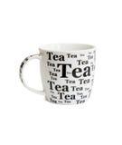 Taza de té blanca con las inscripciones negras Imagen de archivo