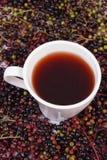 Taza de té caliente con el jugo de la baya del saúco y montón de la baya, nutrición sana Foto de archivo