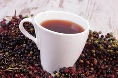Taza de té caliente con el jugo de la baya del saúco y montón de la baya Fotografía de archivo