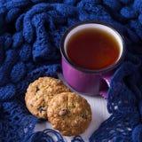 Taza de té caliente, de galletas de harina de avena y de bufanda caliente Imagen de archivo