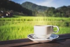 Taza de té caliente en naturaleza foto de archivo