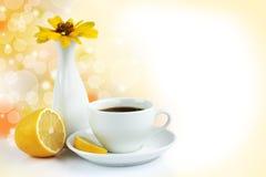 Taza de té con el limón Imágenes de archivo libres de regalías