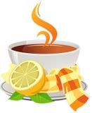 Taza de té con el limón ilustración del vector