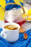 Taza de té con el limón en el día del otoño Imagen de archivo