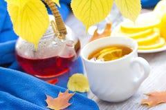 Taza de té con el limón en el día del otoño Imagen de archivo libre de regalías