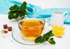 Taza de té con el limón y la menta Imágenes de archivo libres de regalías