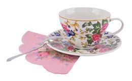 Taza de té con la cuchara Foto de archivo libre de regalías