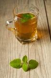 Taza de té con la menta en la tabla de madera Fotografía de archivo