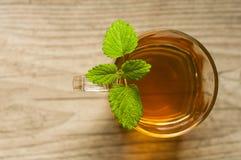 Taza de té con la menta en la tabla de madera Foto de archivo