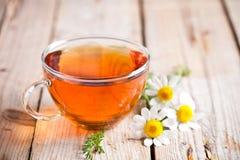 Taza de té con las flores de la manzanilla fotografía de archivo
