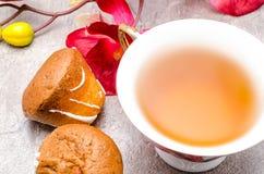 Taza de té con las galletas Imágenes de archivo libres de regalías