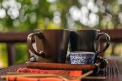 Taza de té con leche al aire libre Fotos de archivo libres de regalías