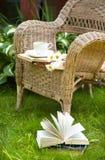Taza de té con libros y manzanillas en una silla fotos de archivo