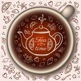 Taza de té con los elementos del tiempo del té del garabato Fotografía de archivo libre de regalías