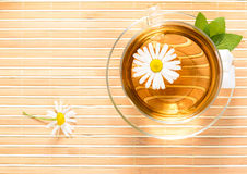 Taza de té con té de manzanilla herbario Fotos de archivo libres de regalías
