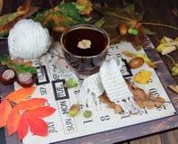 Taza de té con una bufanda hecha punto Foto de archivo