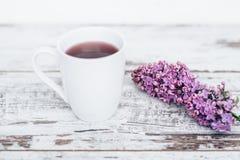 Taza de té de la fruta en la tabla de madera del vintage con la rama de la opinión superior de la lila Imagen de archivo libre de regalías