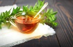Taza de té de la menta y un manojo de menta en la tabla Imagen de archivo