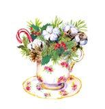 Taza de té de la Navidad - árbol de abeto, muérdago, algodón Acuarela del vintage Fotografía de archivo libre de regalías