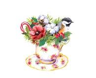 Taza de té de la Navidad - pájaro, árbol de abeto, muérdago Acuarela del tiempo del té Foto de archivo