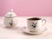 Taza de té del vintage y cuenco de azúcar Foto de archivo libre de regalías