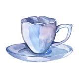 Taza de té Ejemplo pintado dibujado mano de la acuarela Imagen de archivo
