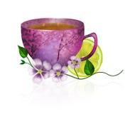 Taza de té en un fondo blanco Fotografía de archivo