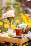 Taza de té en un jardín fotos de archivo libres de regalías