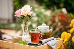 Taza de té en un jardín fotos de archivo