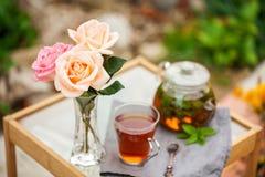 Taza de té en un jardín imagenes de archivo
