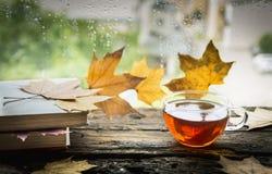 Taza de té en un travesaño de madera de la ventana de la lluvia con los libros y las hojas de otoño en un fondo natural Foto de archivo libre de regalías