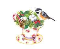 Taza de té de la Navidad - pájaro, ramas de árbol de navidad, muérdago, algodón, bastón de caramelo del Año Nuevo watercolor ilustración del vector
