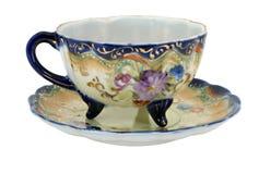 Taza de té pintada a mano azul de Nipón imagenes de archivo