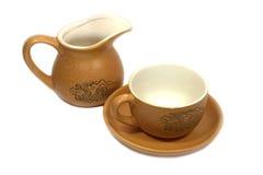 Taza de té, platillo y poder chinos de la leche   Imagenes de archivo