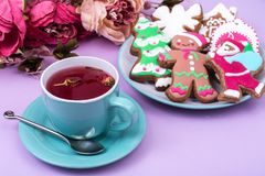 Taza de té rojo con el pan de jengibre de la Navidad del pan de jengibre Foto de archivo
