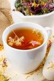 Taza de té sana, mortero, maja con las hierbas curativas Foto de archivo libre de regalías